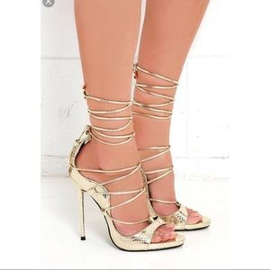 Shoes - Gold Lace Up Heels